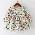 Otoño Vestido Infantil Del Bebé Vestido de Algodón Estampado floral de Estilo Europeo de La Vendimia de Manga Larga Vestido de Niño de Cumpleaños Ropa de Bebé