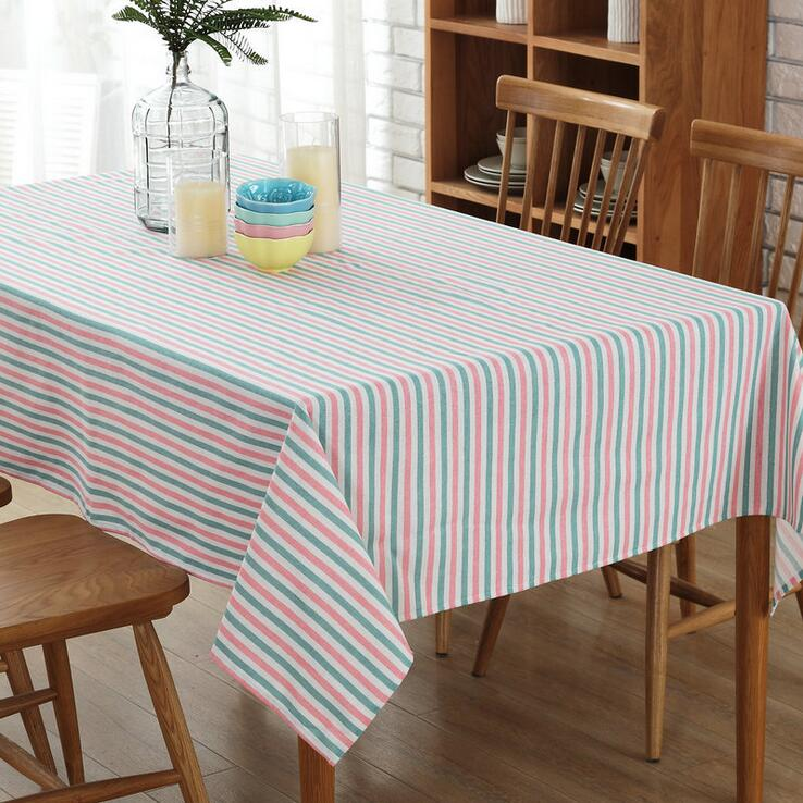 Free Shipping Square Tablecloths Striped Small Fresh Cotton Linen Tablecloth  Rectangular Table Cloth Solid Color Table