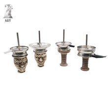 SY Ceramic Shisha Hookah Bowl & Metal Charcoal Screen Holder for Tobacco Chicha Narguile Accessories