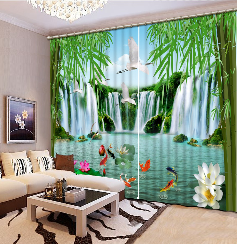 Bamboo Room Decor: Chinese Photo Printing Waterfall Landscape Blackout