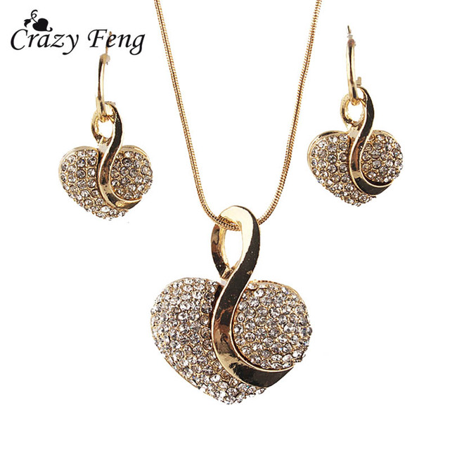 Big Promotion New Gold-color Heart Clear Austrian Crystal Pendant Chain Necklace
