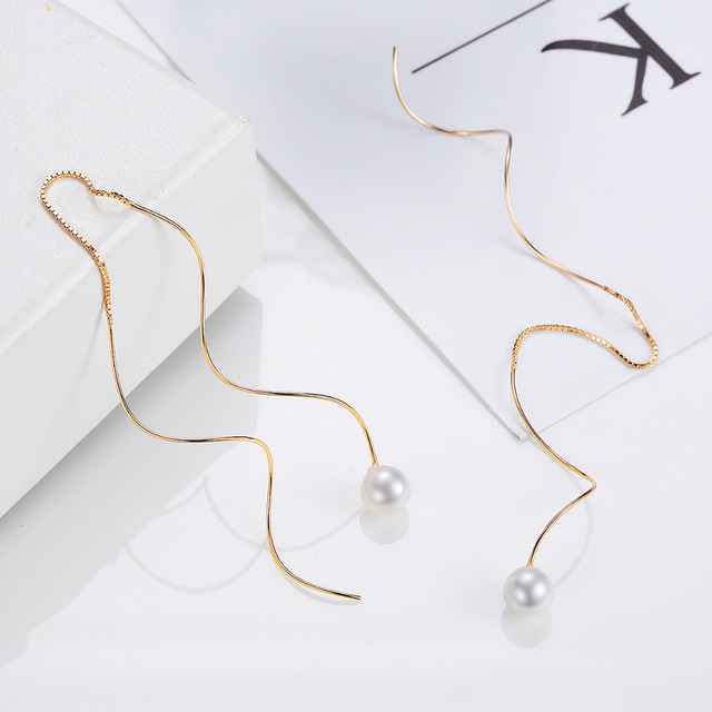 Imitation Pearl Glass Beads Long Wave 925 Sterling Silver Wire Light Gold Earring Hoops Jewelry Gifts Women Clip Ring Ear