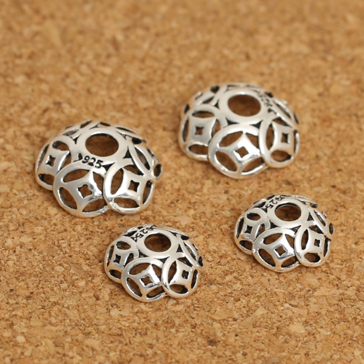 Vintage 925 Silver Beads Caps Jewelry DIY Bead Cap Sterling Silver Jewelry Accessories Good Luck Symbol