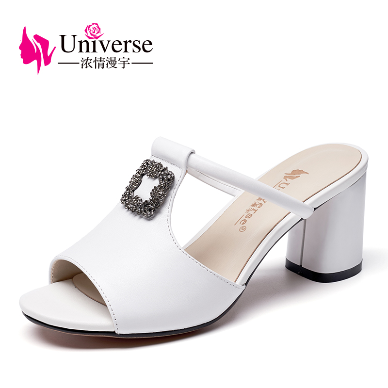 Universe high heel slipper for women genuine leather sandals 2018 summer shoes new arrival woman shoes sandals G134 mnixuan  women slipper sandals genuine