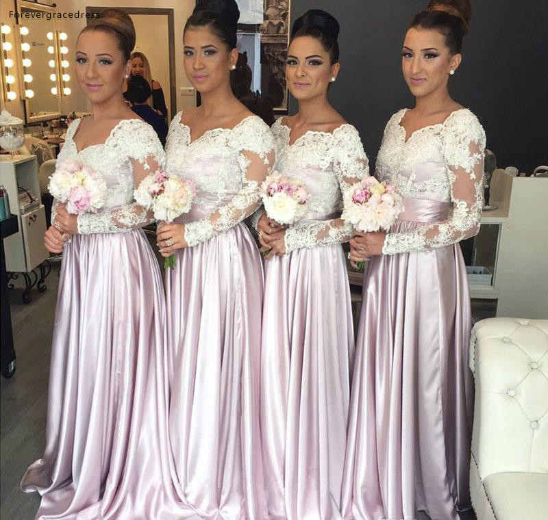 Modest Long Sleeves Bridesmaid Dresses 2019 A Line Applique Summer Country Garden Formal Wedding Party Guest Maid Of Honor Gowns