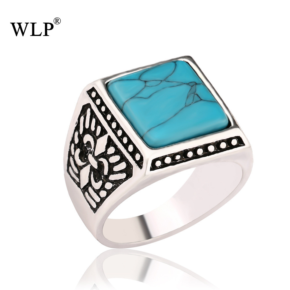 WLP New Arrival Square Shape Vintage Antique Silver Plated Black Resin Stone&Green Precious Stone Fashion Turkish Rings