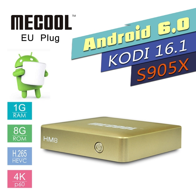 Original MECOOL HM8 4 K UHD Inteligente Android 6.0 TV Box S905 Cortex-A53 1G/8G Quad-core WiFi Reproductor Multimedia Inteligente Set Top Box