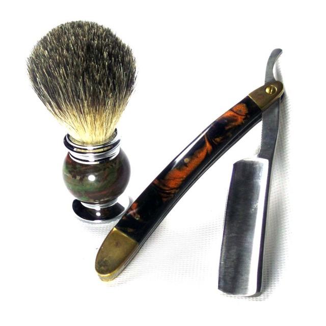 2 Pçs/set Folding Navalha Barbear Pêlos de Texugo Pincel De Barba para homens Diárias