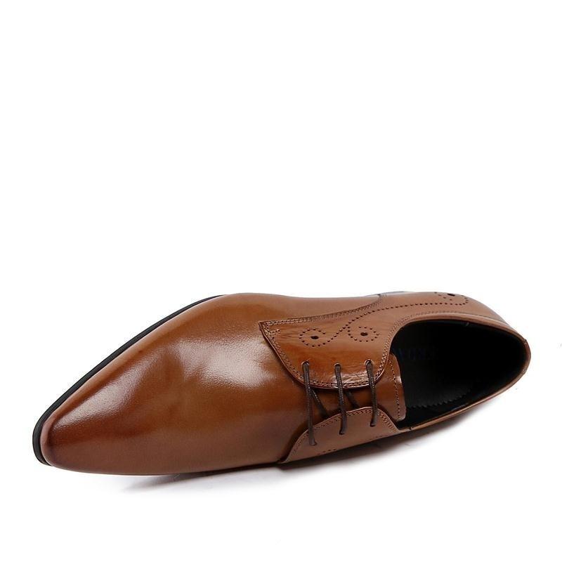 brown Pisos Formales Del Oxfords drown Toe Traje Negro Boda De Negro Brogue Mycolen Hombres Cuero Marca Genuino Punta Vestir Zapatos 84TqST