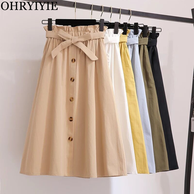 OHRYIYIE Vintage Summer Skirts Womens 2018 New Elegant High Waist Knee Length Skirt Female A-Line Sun School Skirt With Sashes
