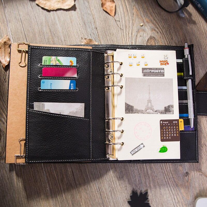 2019 여행 저널 가죽 노트북 바인더 최고의 선물 개인 주최자 일기장 쓰기 A6-에서노트북 컴퓨터부터 사무실 & 학교 용품 의  그룹 3