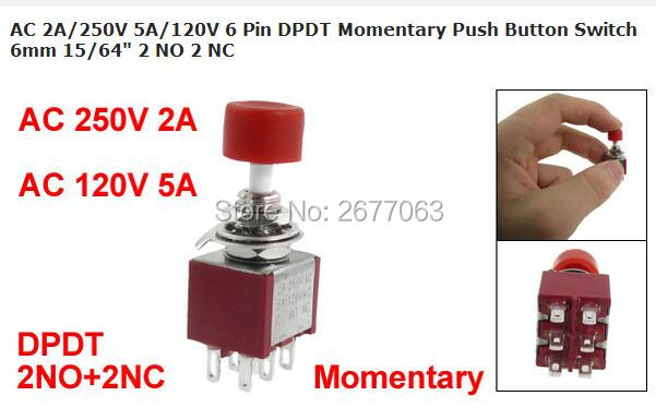 5pcs AC 2A/250V 5A/120V 6 Pin DPDT Momentary Push Button Switch 6mm 15/64 2 NO 2 NC