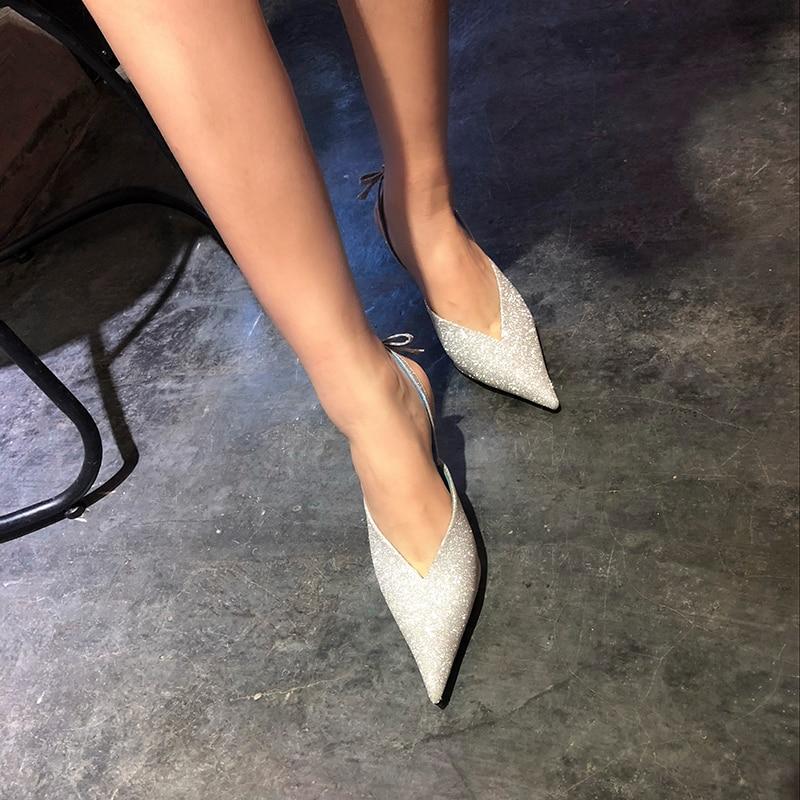 Marque Pompes Bout As Chaussures Sandalia Show Slingback Nouvelle Femmes Mariage Soirée Sandalias Tendance De À Pointu Hauts Des Feminina Talons Bling Mujer Bowtie P4wdqpP