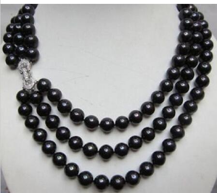 3ROW AAA 10-11 MM BEAUTIFUL TAHITIAN PEACOCK BLACK PEARL NECKLACE 17 aaa 11 12mm beautiful tahitian black pearl earring white