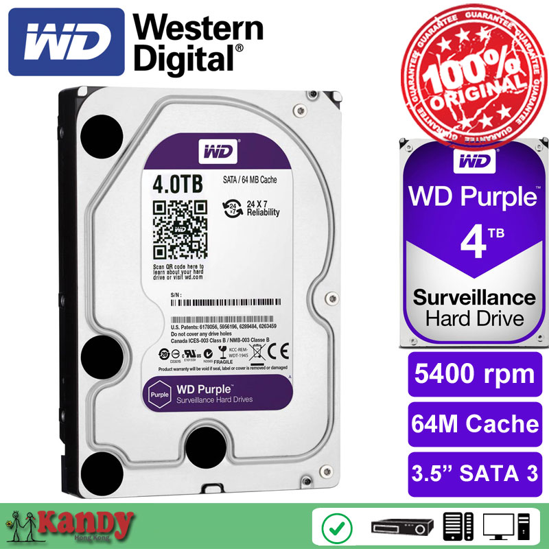 Western Digital WD Purple 4TB hdd NVR system sata 3.5 Surveillance internal hard disk security systems disque dur desktop server