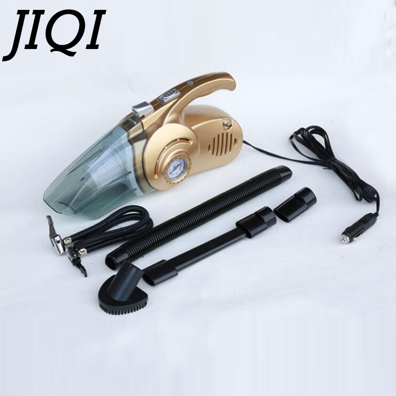 JIQI MINI Car Vacuum Cleaner Wet Dry Dust catcher 12V Vehicle Auto Cigarette Lighter Handheld spirator Hepa Filter With Inflator auto mini handheld 100w car vacuum cleaner auto portable dust brush for car 12v car air compressor tyre inflator infation pumb