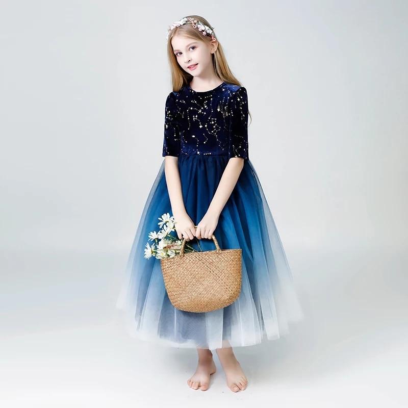 купить 2018Autumn Winter New Children Girls Elegant Evening Birthday Party Prom Dress Toddler Kids Host Piano Pageant Performance Dress недорого
