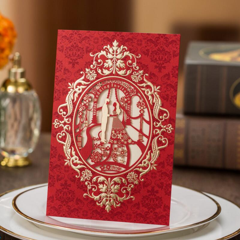 Fashion Wedding Invitation Cards Hollow Paper Frame Church Style Wedding Invitations 50pcs/pack with Envelope 1 design laser cut white elegant pattern west cowboy style vintage wedding invitations card kit blank paper printing invitation