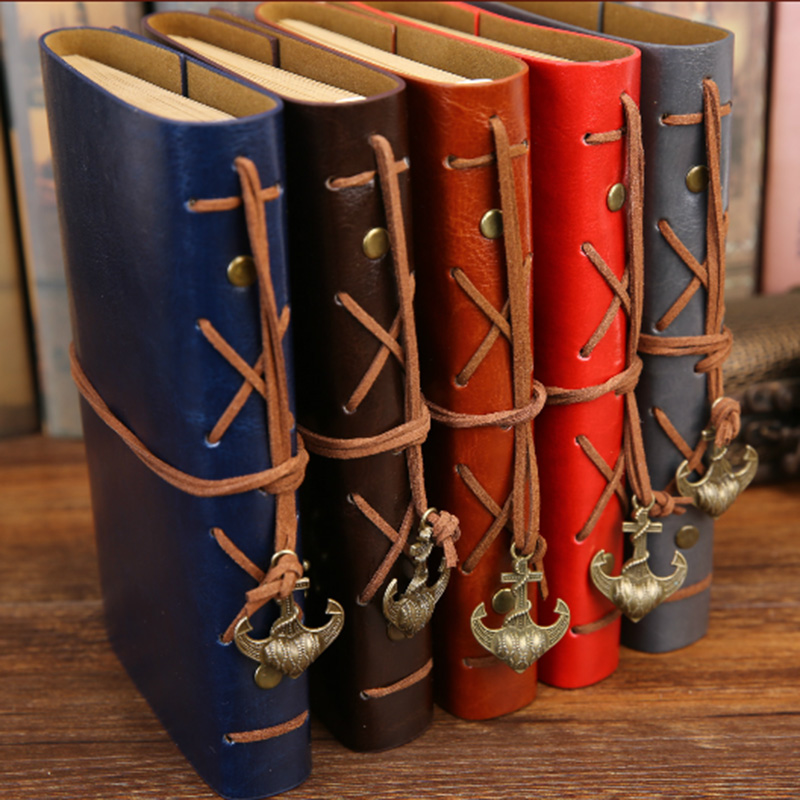 Vintage Pirate Anchors PU Leather Note Book Replaceable Stationery Gift  Spiral Notebook Diary Notepad Replaceable inner core 5