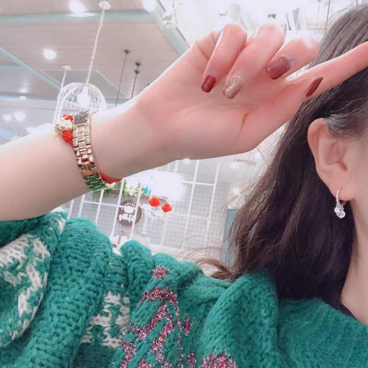 2019 ใหม่แฟชั่นรอบ Zircon Hoops สำหรับงานแต่งงานผู้หญิงหรูหรา Rose Gold สี Marquise Hoop ต่างหูของขวัญเครื่องประดับ