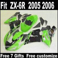 Лучшая цена комплект тело для Kawasaki ZX6R комплекты обтекателей 2005 2006 цвета: зеленый, черный Запчасти 05 06 Ninja 636 Обтекатели DT9 + 7 подарки