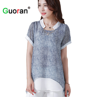 Sarvik Fake 2pieces Chiffon Blouses For Women 2016 Long Plus Size Female Blue Grey Shirt L
