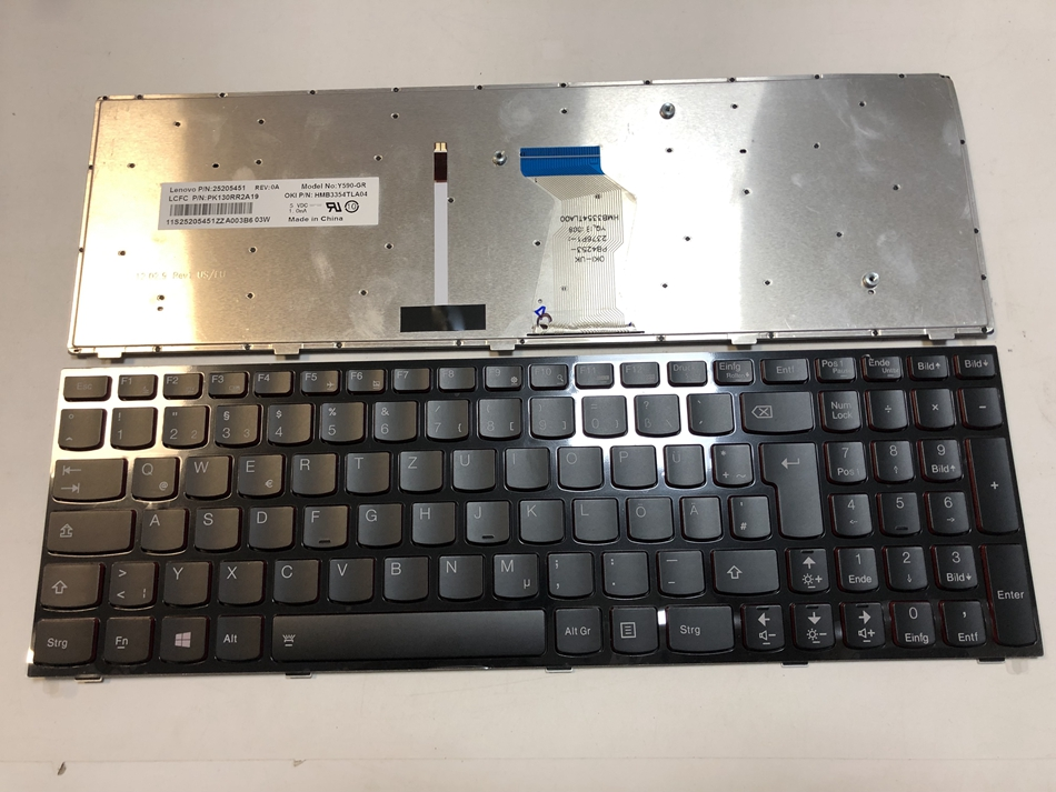 Germany Backlit Laptop Keyboard For Lenovo Y500 Y500N Y500NT Y500S Y510 Y510P Y590 Y590P GR Layout