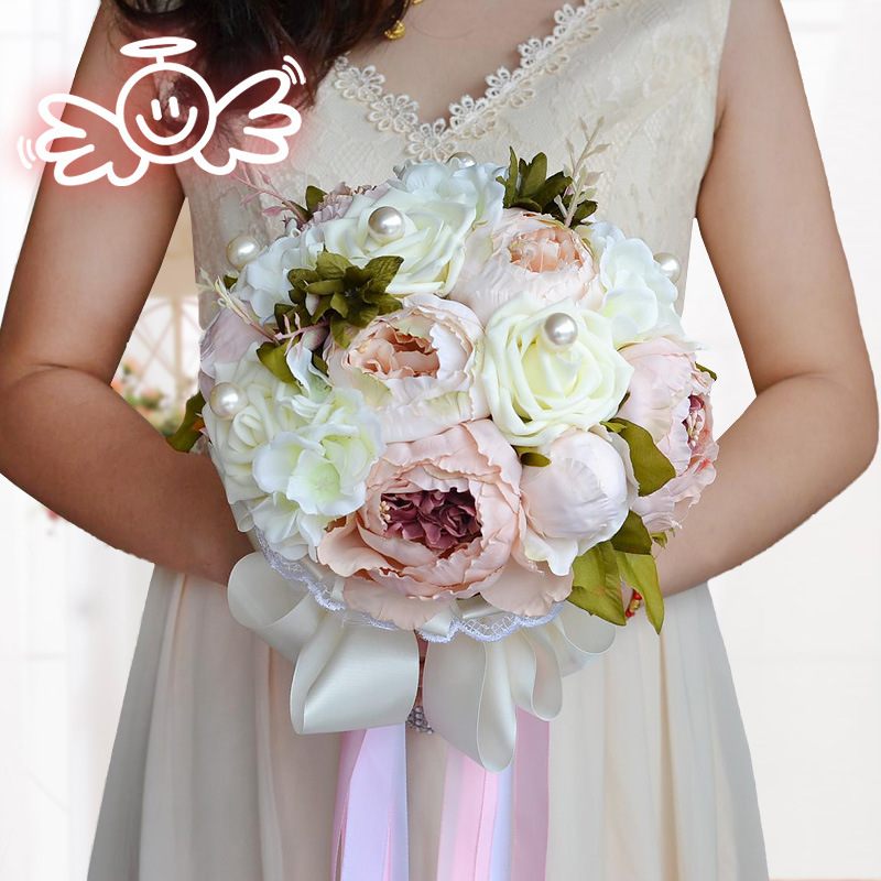 1 pc / lot Moda Bastante Artificial Peonía Y Espuma Rosa Perla Ramo - Para fiestas y celebraciones - foto 2