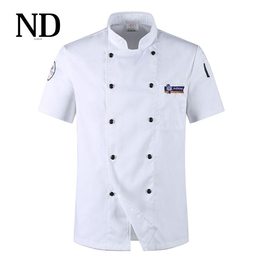 Jaunums! Vasarā elpojošs ar īsām piedurknēm dubultā krūtis restorāna šefpavāra jaka Virtuves pavāra kostīms Tīkla mugura Vīrietis sieviete šefpavāra formas tērps