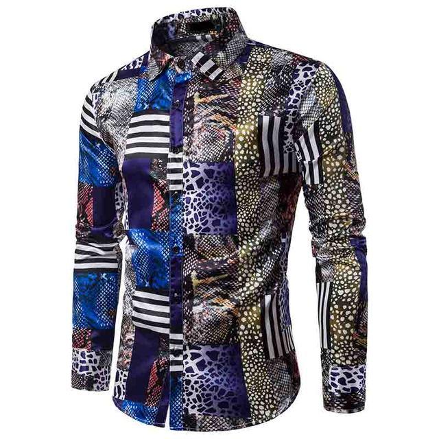 HOT 2019 Autumn splicing leopard print long sleeve Male animal grain floral Tuxedo shirt male men wedding dress shirts