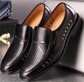 2017 Nuevo de Alta Calidad de Los Hombres de Cuero Genuino Abarcas recortes Zapatos Bullock Hombres Oxfords Zapatos de Vestir de Negocios Formales Masculinos zapatos