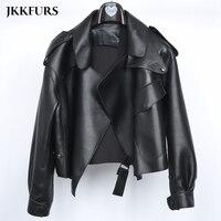 5 Colors Women's Leather Jacket New Fashion Genuine Leather Coat Lady 2019 Spring Sheepskin Leather S7547