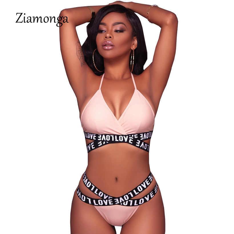 Ziamonga 2017 nueva llegada 2 piezas Sexy Rosa Skinny bodys playa monos para mujer carta estampado Bodycon