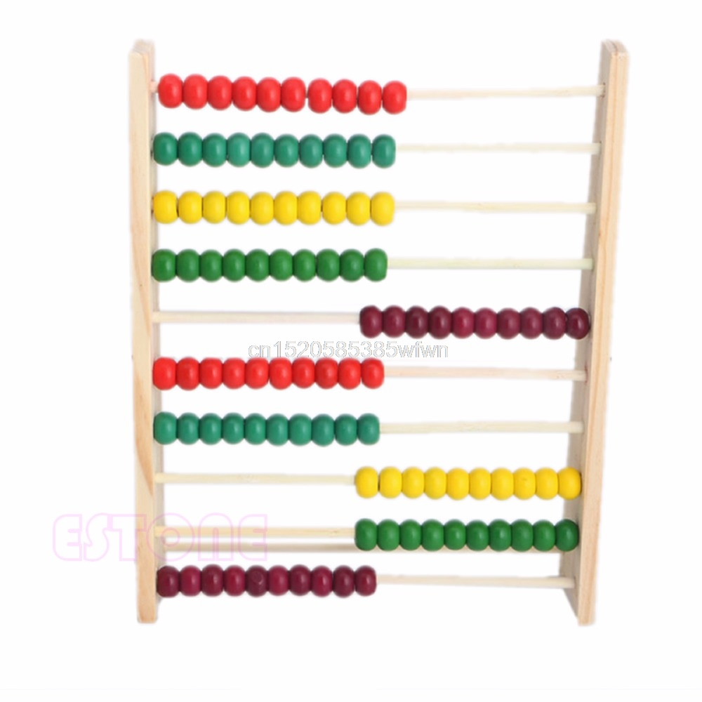 10 Beads Wooden Abacus Colorful Counting Number Kid Math Learning Teaching Toy #HC6U# Drop shipping