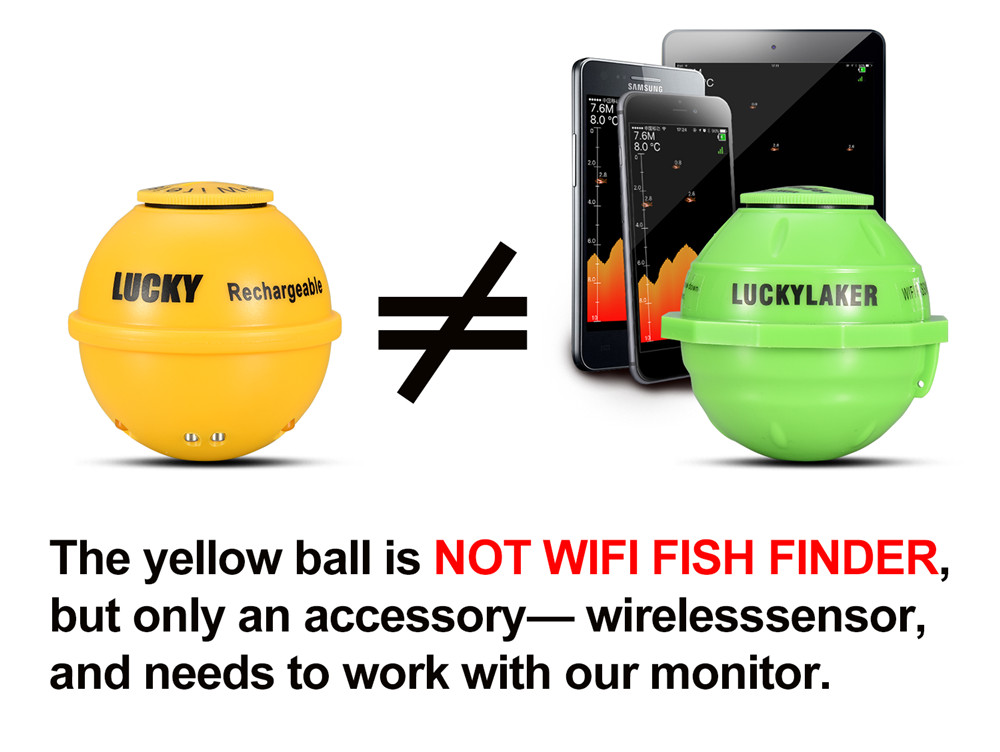 Free Shipping! LUCKY FF1108-1CWLA Rechargeable Wireless Remote Sonar Sensor 45M water depth High Definition LCD Fish Finder (5)