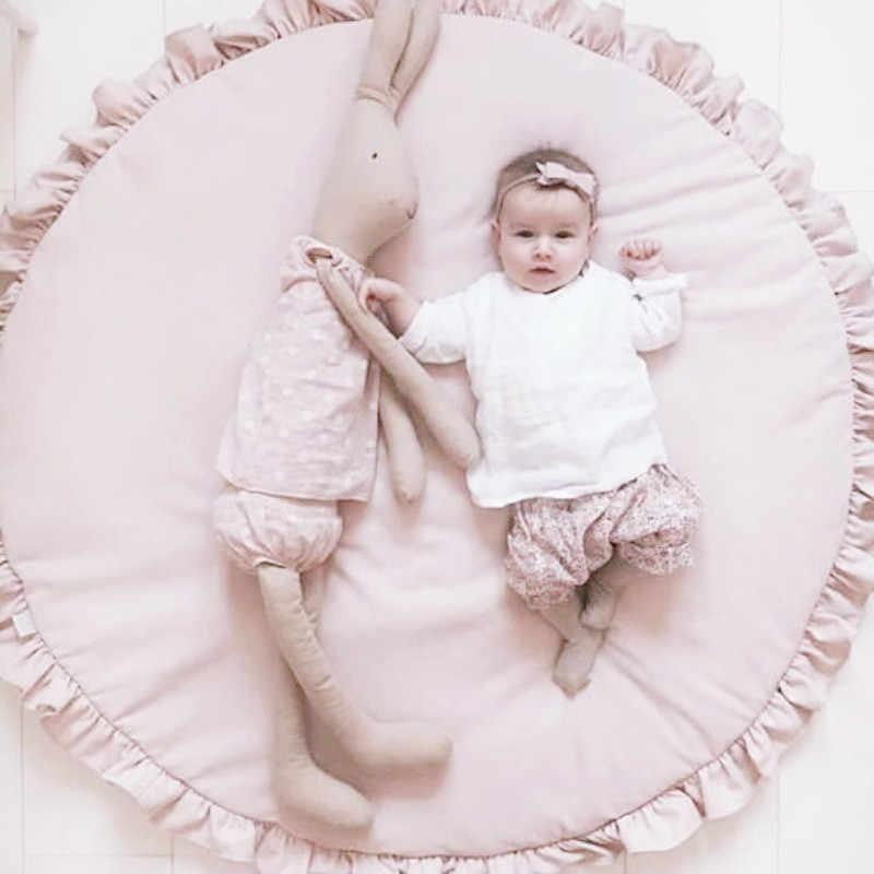 Alfombras nórdicas para bebés recién nacidos acolchadas de algodón suave alfombrilla de gateo para niñas alfombra de suelo redondo para niños Interior de bebé juguetes