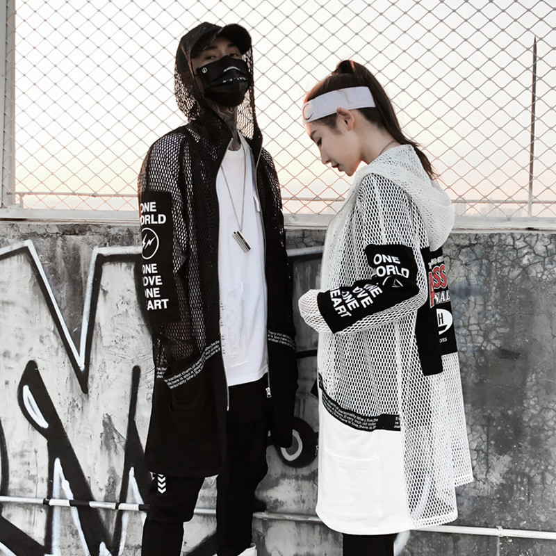Männer frühling sommer aushöhlen mesh lange jacken mit kapuze windjacke nachtclub punk hip-hop-mantel frauen casual mantel streetwear