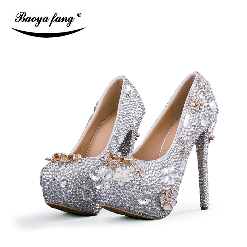 Silver Crystal New women Wedding shoes Bridal high heels platform shoes fashion ladies Party dress shoes woman quality shoes