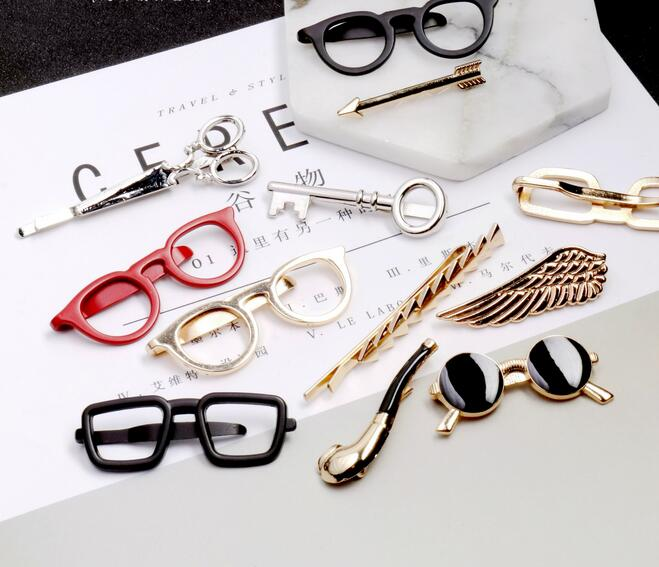 Tie-Clip Glasses Mustache Anchor Bullet 6-Styles Men Metal for Commercial Pin Key-Shape