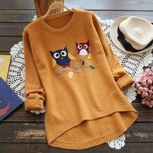 Spring Autumn Japanese Kawaii Cartoon Owl Embroidery Knitting Sweater Women Mori Girl Sweet Long Sleeve Pullover Sweaters U490