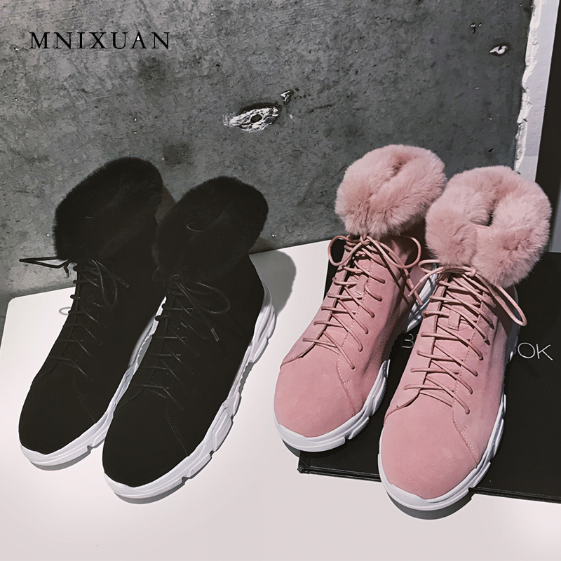 MNIXUAN winter boots women shoes rabbit fur genuine leather 2018 new round toe flat platform warm plush snow boots short boots best selling top quality women hidden wedge winter warm snow boots plush inside platform round toe motorcycle boots shoes