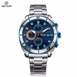 New Top Brand Luxury MEGIR Watch Men Fashion Sport Quartz Clock Mens Watches Full Steel Waterproof Relogio Masculino Chronograph