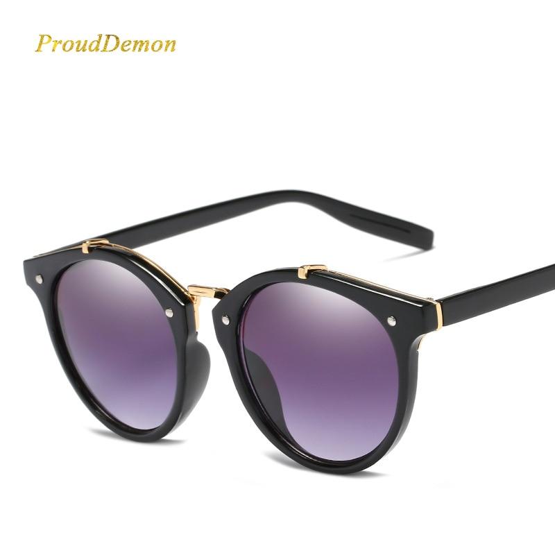 2018 Vintage Ronda Remache Gafas de sol Mujer Diseñador de la marca Gafas UV400 Gradient Mujer Retro Gafas de Sol Elegante Oculos De Sol