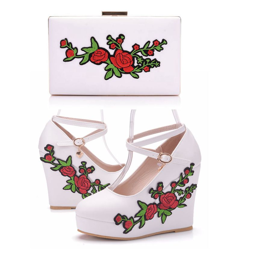 Crystal Queen White Wedge Heels Womens Shoes Breathable Lace Flower Pumps With Matching Bag Wedges Pumps With Purse High Heels