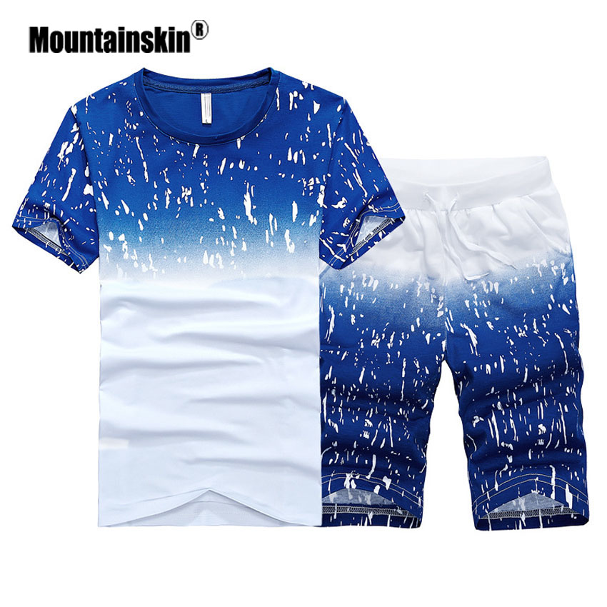 Mountainskin Men's Summer Shirts And Short Fashion Men's Sets Casual Male Slim Fit Tees Male Sweatshirt Brand Clothing SA438