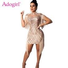 bfe1795377 Adogirl Tassel cekiny noc klub wieczorne Party sukienki Cape Spaghetti pasy Bodycon  Mini sukienka wysokiej jakości