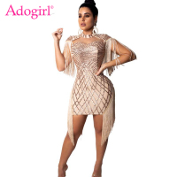 Adogirl Tassel Sequins Night Club Evening Party Dresses Cape Spaghetti Straps Bodycon Mini Dress High Quality Female Outfits