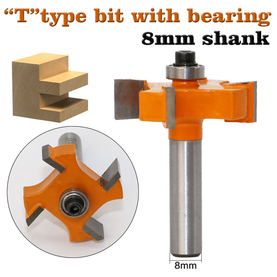 1pc8mmShank T Type Bearings Wood Milling Cutter Industrial Grade Rabbeting Bit Woodworking Tool Router Bits For Wood
