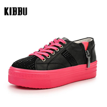KIBBU Fashion Pink Women Shoes Personality Zipper Genuine Leather Breathable Leisure Sport Outdoor Tidal Current Sister