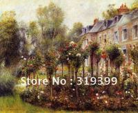 100% handmade Pierre Auguste Renoir Oil Painting reproduction on linen canvas ,The Rose Garden at Wargemont,Free DHL Shipping